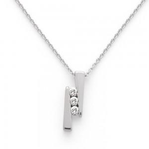 Pendentif Diamants 0,15 Carat H SI trilogie Or blanc