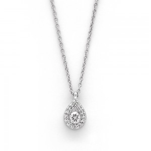 Pendentif Diamant 0,10 Carat forme poire entourage Diamants 0,07 Carat Or Blanc