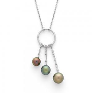 Pendentif 3 perles de culture de Tahiti et Diamants 0,39 Carat G SI Or blanc