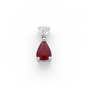 Pendentif Rubis 1,00 Carat et Diamant 0,09 Carat G VS Or blanc