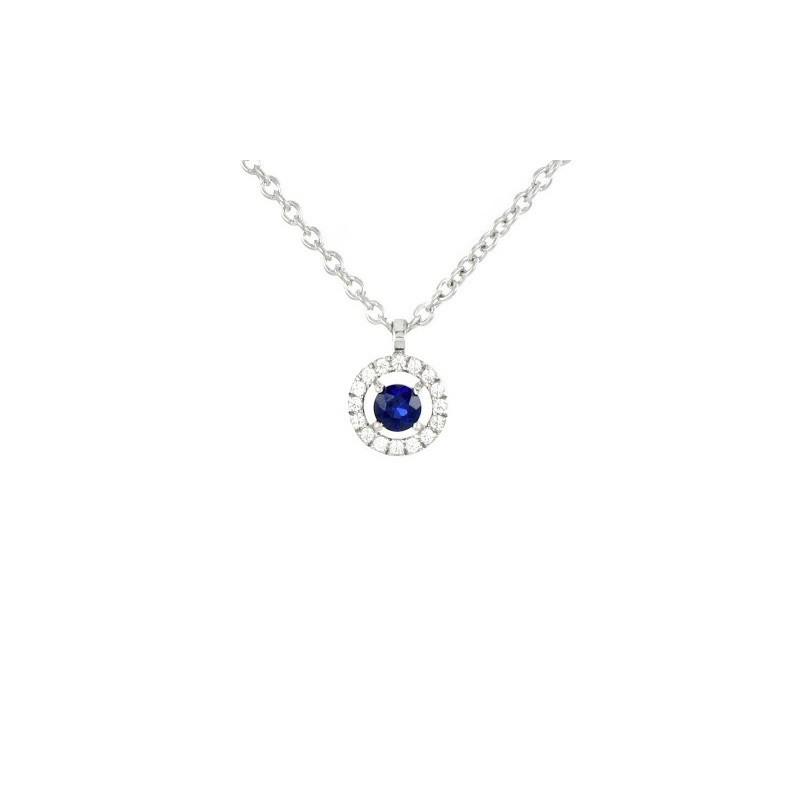 Pendentif Saphir 0,13 Carat taille Ronde et Diamants 0,06 Carat H SI Or blanc