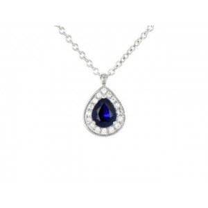 Pendentif Saphir 0,40 Carat taille Poire et Diamants 0,08 Carat H SI Or blanc