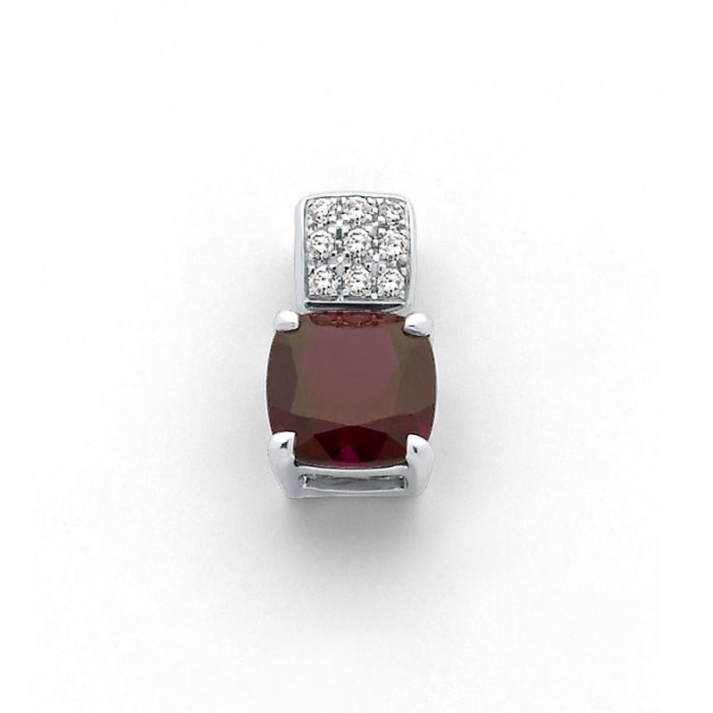 Pendentif Rhodolite 2,5 Carats et Diamants 0,11 Carat Or blanc