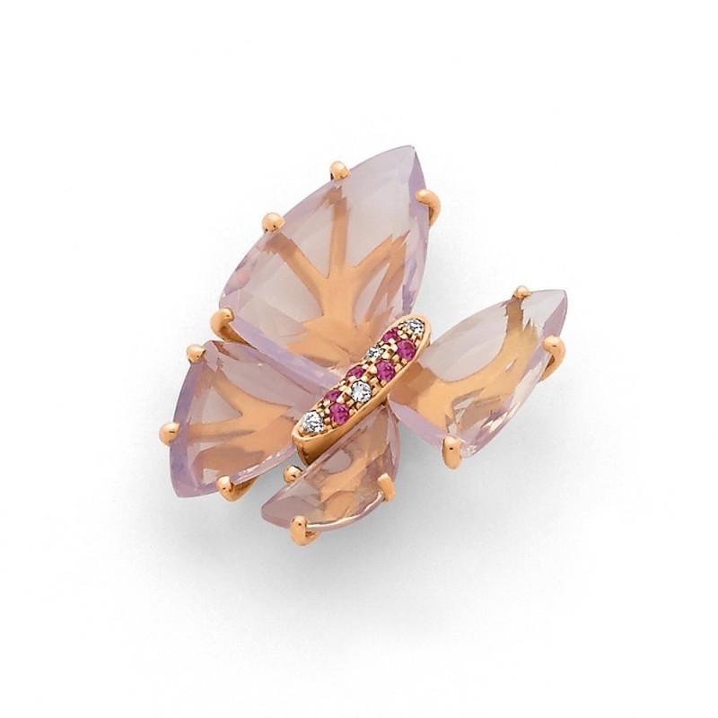 Pendentif Améthystes Milky, Saphirs roses 5,80 Carats et Diamants 0,02 Carat