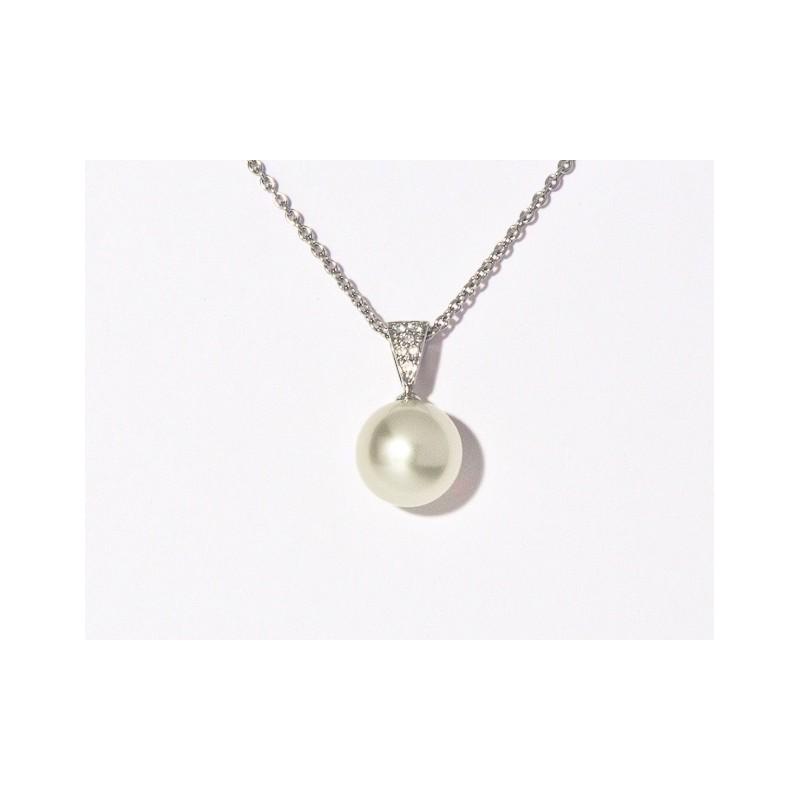 Pendentif Perle de culture d'Australie ronde 10,1mm Diamants Or blanc