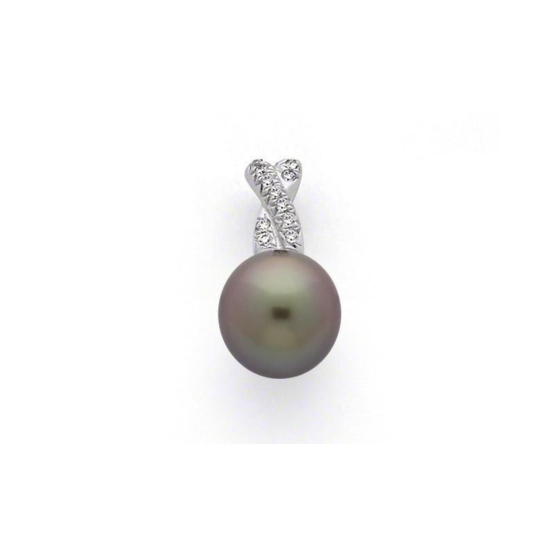 Pendentif Perle de culture de Tahiti ronde 9,7mm Diamants Or blanc