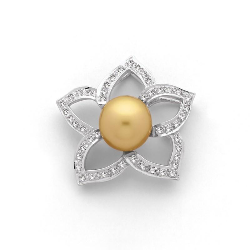 Pendentif Perle de culture d'Australie 8,8mm Fleur de Tiaré Diamants Or blanc