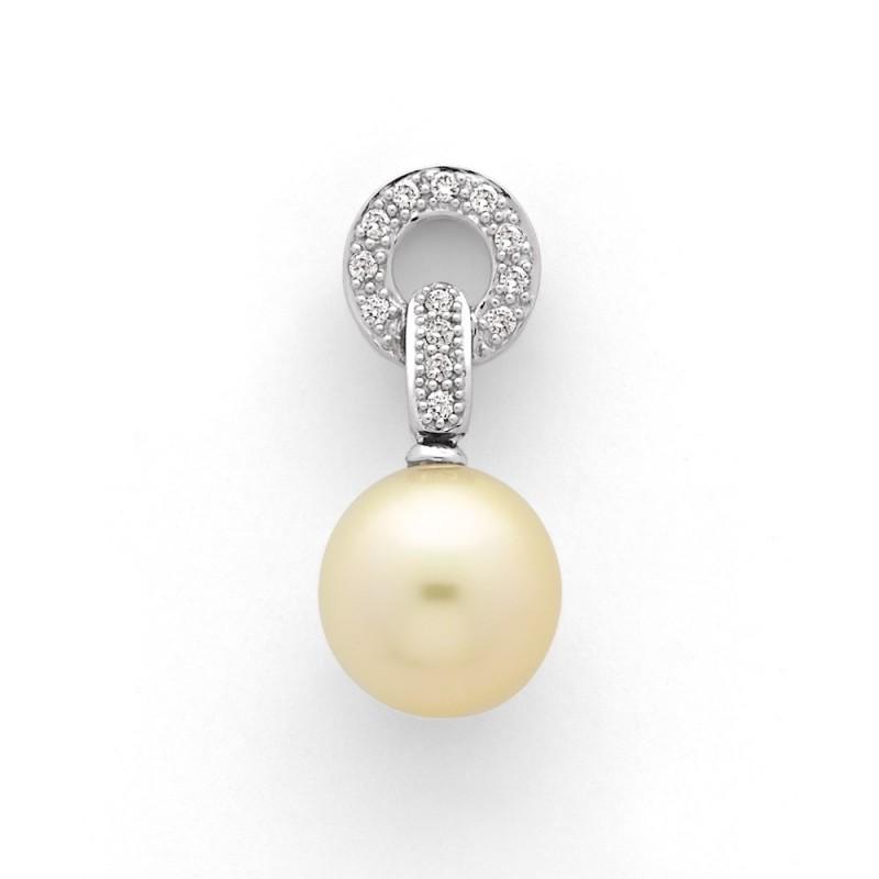 Pendentif Perle de culture d'Australie ronde 12,2mm Diamants Or blanc