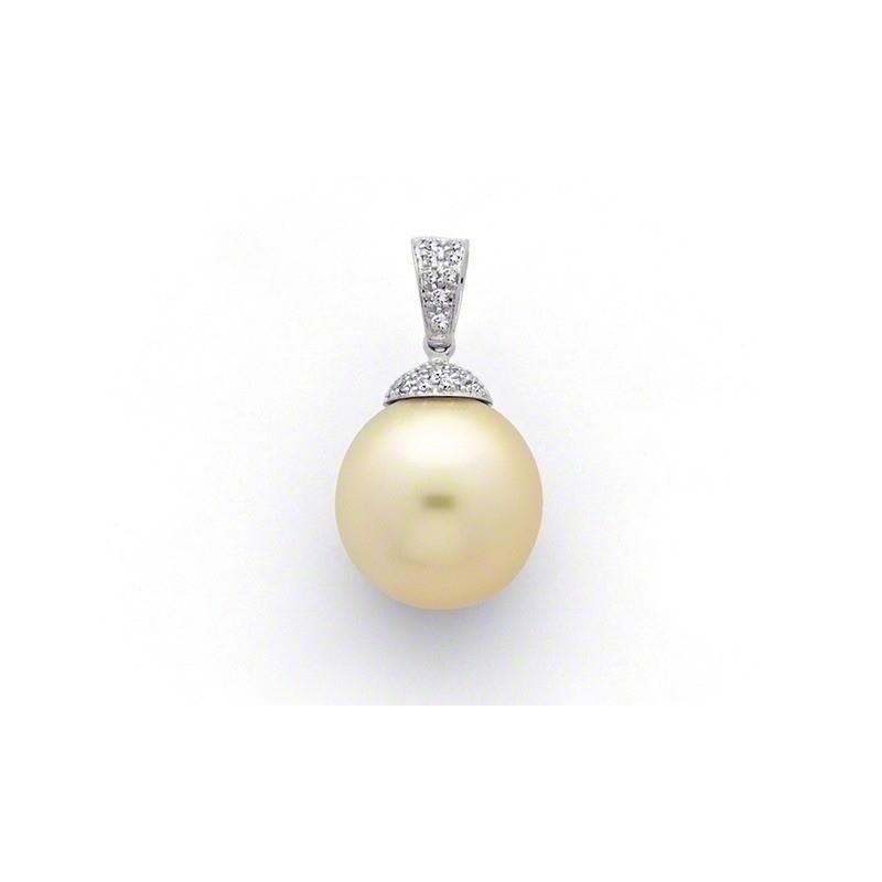 Pendentif Perle de culture d'Australie ronde 13,2mm Diamants Or blanc