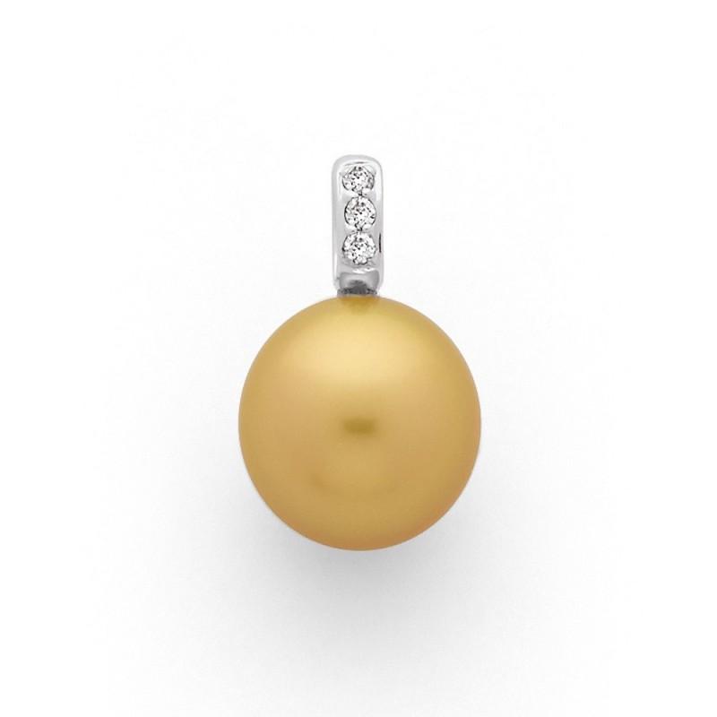 Pendentif Perle de culture Gold 12 mm ronde Diamants 0.05 Carat Or blanc