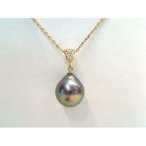 Pendentif Perle de culture de Tahiti 9,1mm poire Diamants Or jaune