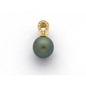 Pendentif Perle de culture de Tahiti 10 mm ronde Diamants Or jaune
