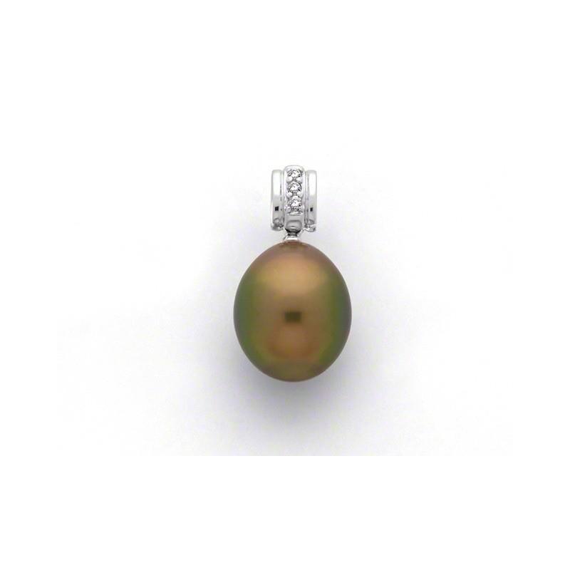 Pendentif Perle de culture de Tahiti  9,3mm Diamants 0,05 Carat Or blanc