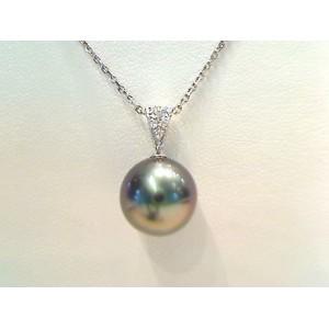 Pendentif Perle de culture de Tahiti ronde 10,2mm Diamants Or blanc