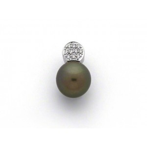 Pendentif Perle de culture de Tahiti ronde 10,4mm Diamants Or blanc