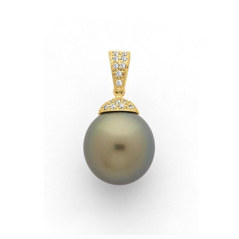 Pendentif Perle de culture de Tahiti ronde 10,0 mm Diamants Or jaune