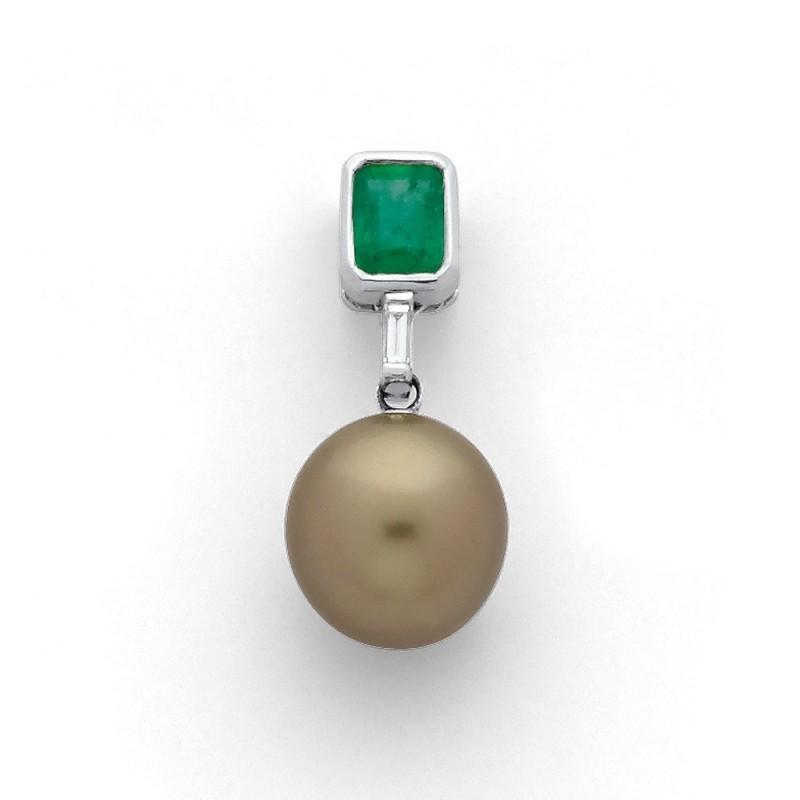 Pendentif Perle de culture de Tahiti ronde 10,0 mm Emeraude Or blanc