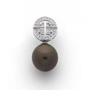 Pendentif Perle de culture de Tahiti ronde 11,2mm motif Zen Diamants Or blanc
