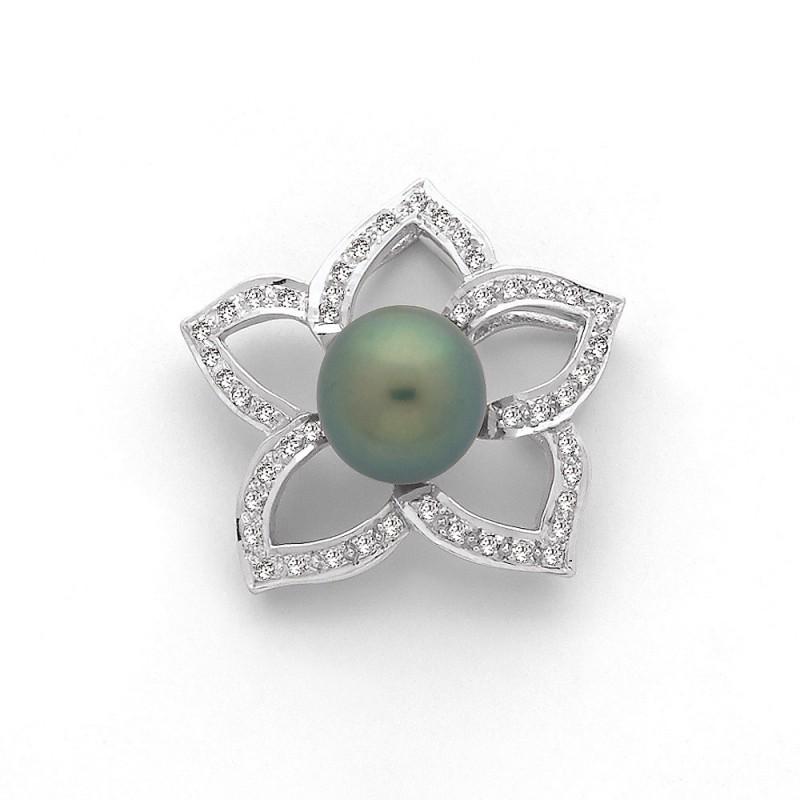 Pendentif Perle de culture de Tahiti 9,8mm Fleur de Tiaré Diamants Or blanc