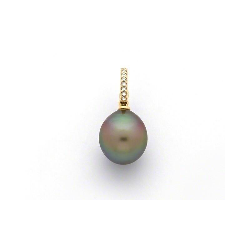 Pendentif Perle de culture de Tahiti ronde 10,7mm Diamants Or jaune
