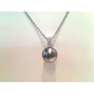 Pendentif Perle de culture de Tahiti ronde 10,8mm Diamants Or blanc