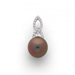 Pendentif Perle de culture de Tahiti 10,8mm Diamants Or blanc