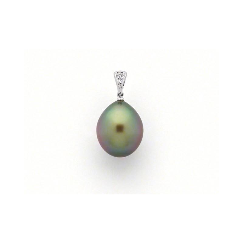 Pendentif Perle de culture de Tahiti 11,2 mm et Diamants 0,03 Carat G SI
