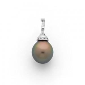 Pendentif Perle de culture de Tahiti 9,8mm et Diamants G SI Or blanc