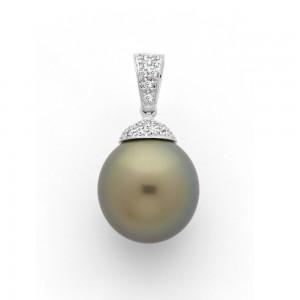 Pendentif Perle de culture de Tahiti 12,7mm ronde Diamant 0,12 Carat Or blanc