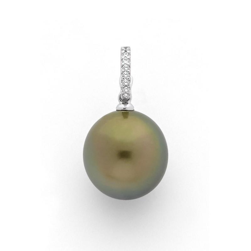 Pendentif Perle de culture de Tahiti 14,6mm ronde Diamants 0,06 Carat