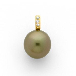 Pendentif Perle de culture de Tahiti 12,6mm ronde Diamants 0.05 Carat Or jaune