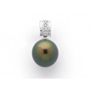 Pendentif Perle de culture de Tahiti ronde 11,2mm Diamants Or blanc