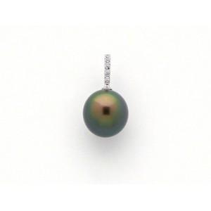 Pendentif Perle de culture de Tahiti ronde 11,4mm Diamants Or blanc