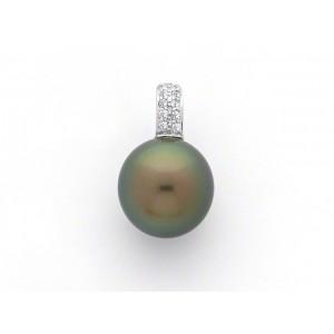 Pendentif perle de culture de Tahiti ronde 12,7mm Diamants Or blanc