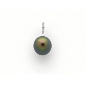 Pendentif Perle de culture de Tahiti ronde 9,4mm Diamants Or blanc