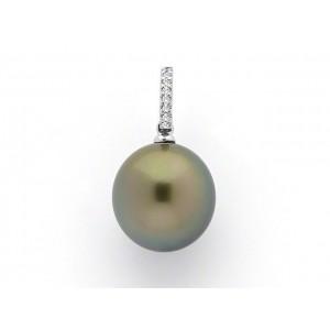 Pendentif Perle de culture de Tahiti ronde 14,7mm Diamants Or blanc