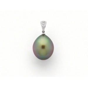 Pendentif Perle de culture de Tahiti 10,2mm poire Diamants Or blanc