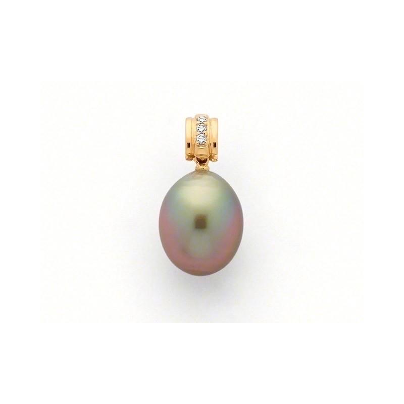 Pendentif Perle de culture de Tahiti 12,7mm Diamants H SI Or jaune