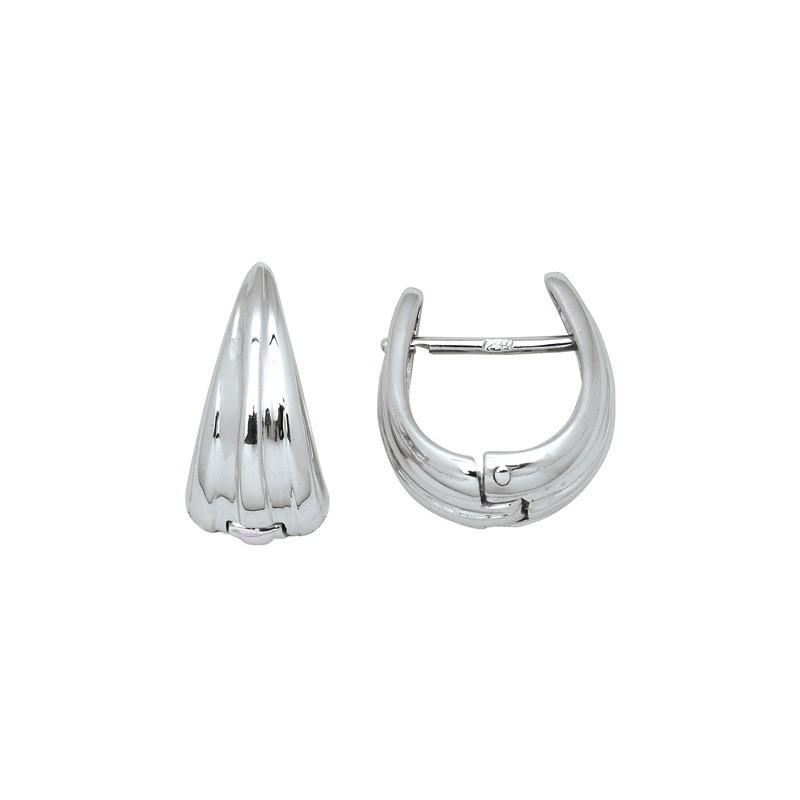 Boucles d'oreilles ovales 14mm Or blanc