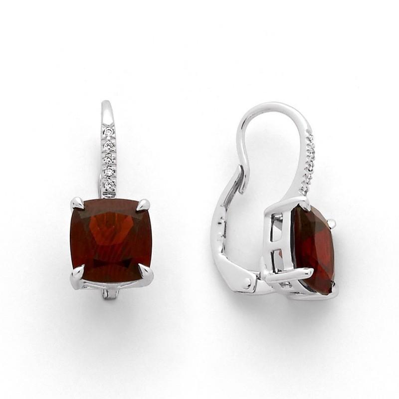 Boucles d'oreilles Grenats almandin 5,04 Carats Diamants Or blanc