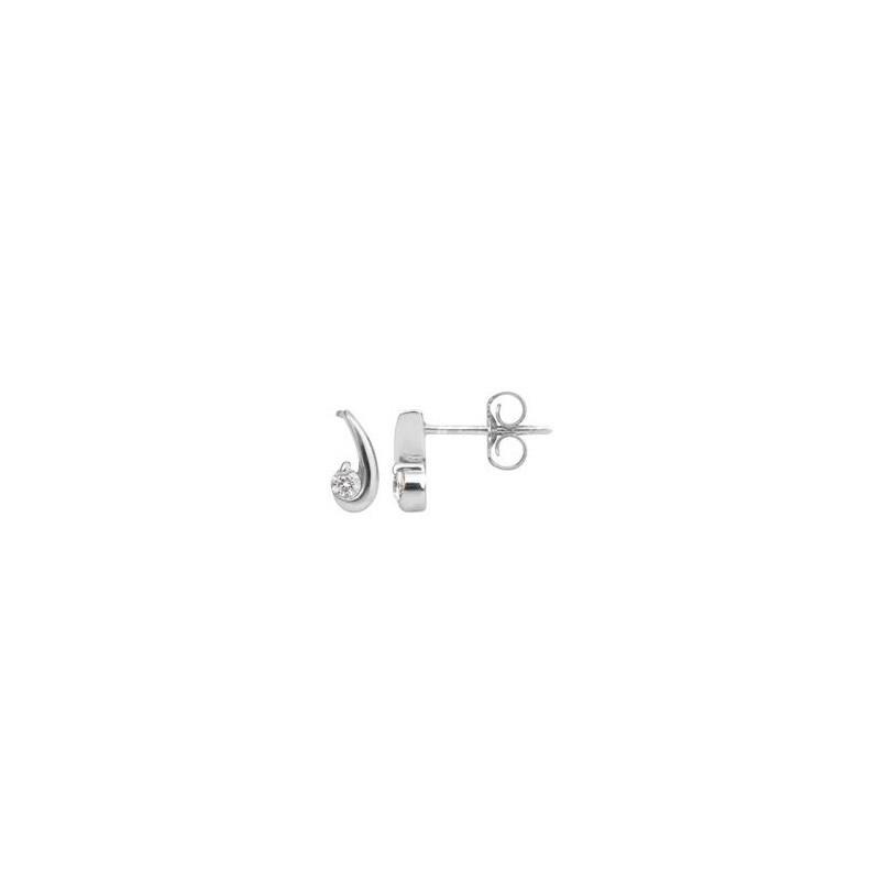 Boucles d'oreilles Diamants 0,08 Carat virgule Or blanc
