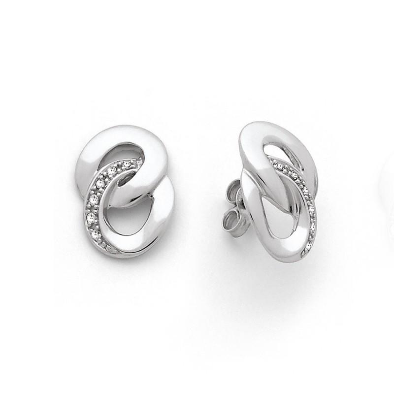 Boucles d'oreilles Diamants 0,05 Carat Or blanc