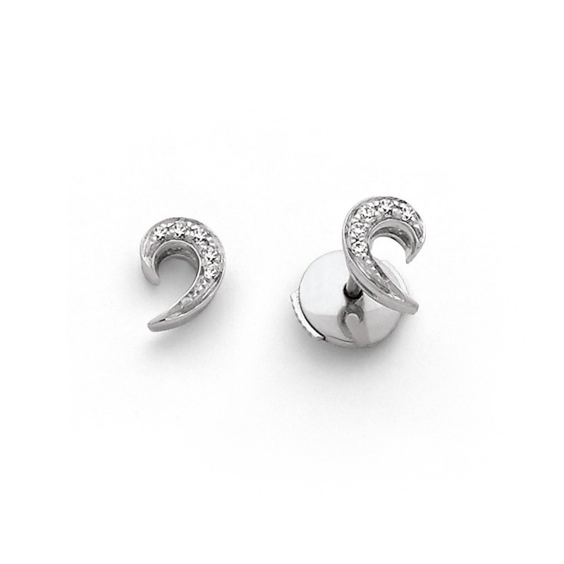 Boucles d'oreilles Diamants 0,06 Carat pavage Or blanc