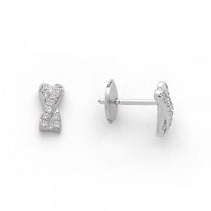 Boucles d'oreilles Diamants 0,12 Carat X pavage Or blanc