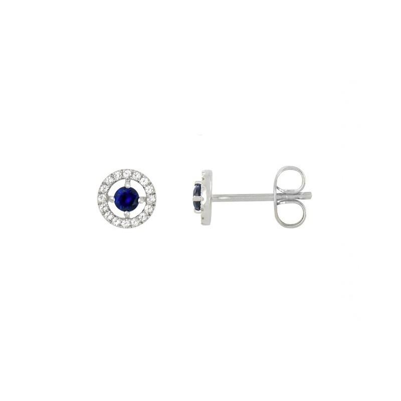 Boucles d'oreilles Saphirs 0,20 Carat entourage Diamants 0,09 Carat Or Blanc