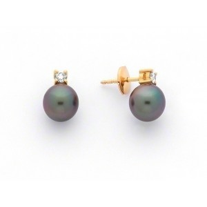 Boucles d'oreilles Perles de culture de Tahiti 7,5-8 mm rondes Diamants Or jaune