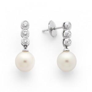 Boucles d'oreilles Perles de culture Akoya Japon ronde 8-8,5mm Diamants-3