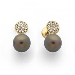Boucles d'oreilles Perles de culture de Tahiti 10,1mm rondes Diamants Or jaune