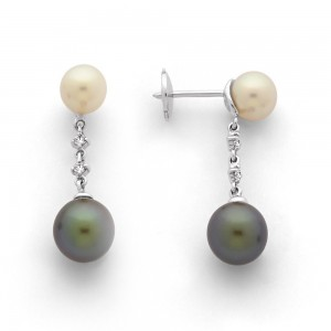 Boucles d'oreilles Perles de culture de Tahiti 8,3mm rondes, Japon et Diamants