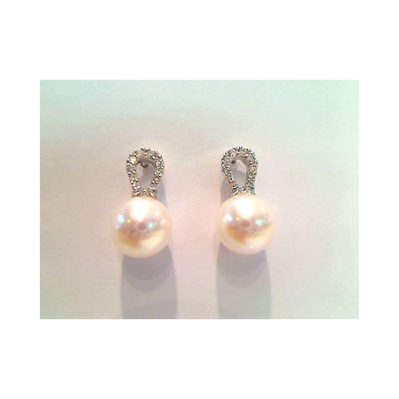 Boucles d'oreilles Perles de culture Akoya Japon ronde 8 -8,5mm Diamants